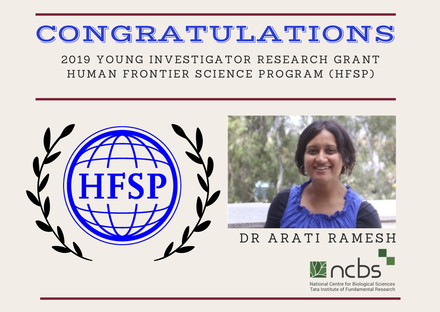 Dr Arati Ramesh awarded the 2019 HFSP Young Investigator Grant