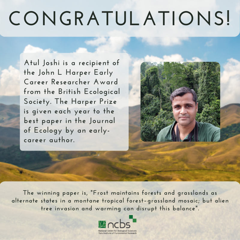 Congratulations! Atul Joshi Awarded the Harper Prize by the British Ecological Society