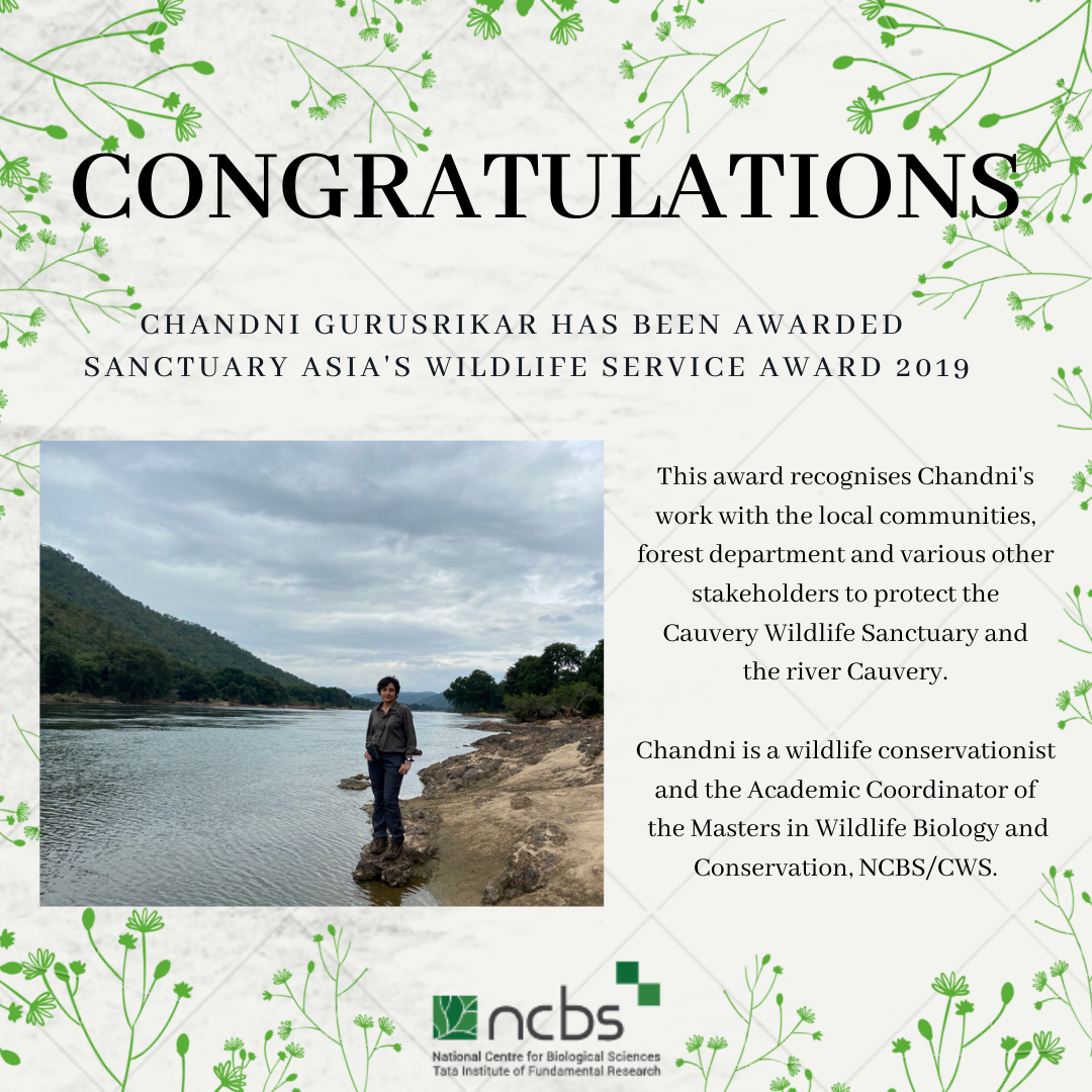 Congratulations! Chandni Gurusrikar awarded Sanctuary Asia's Wildlife Service Award 2019