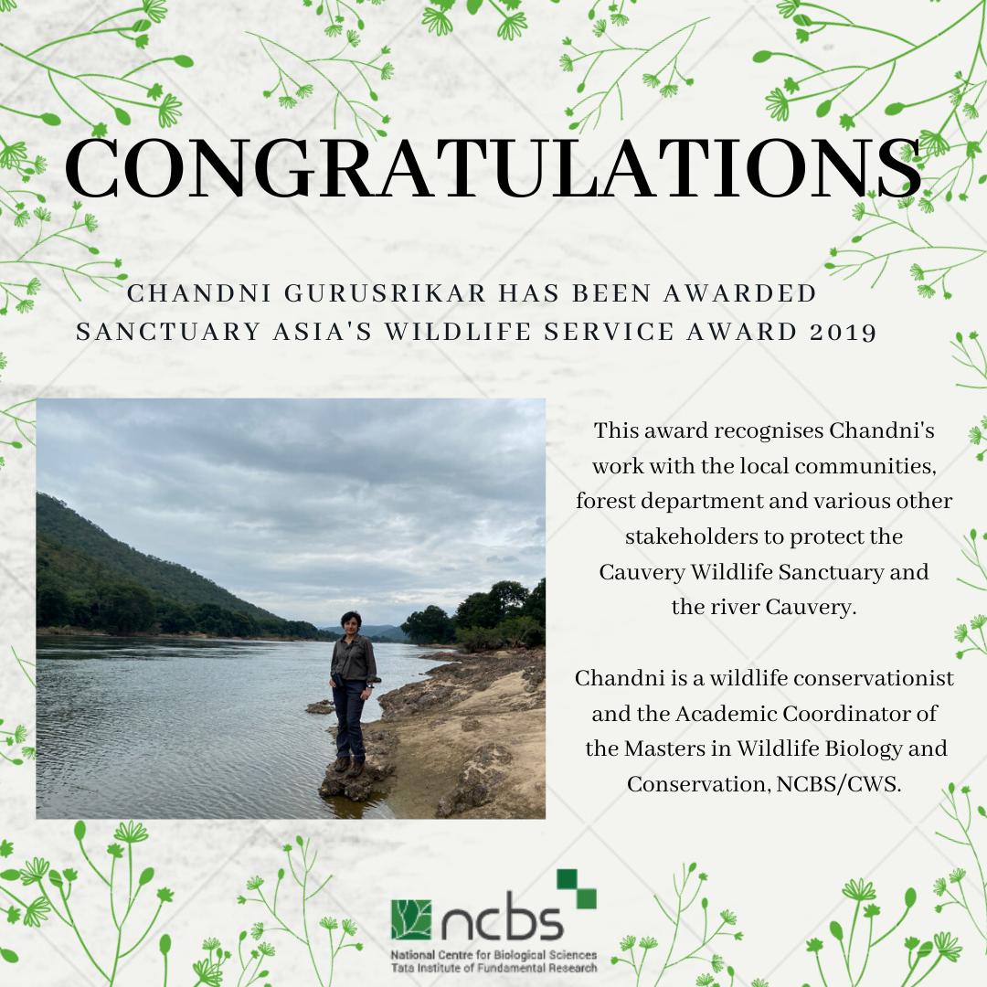 Congratulations! Chandni Gurusrikar awarded Sanctuary Asia's Wildlife Service Award 2019