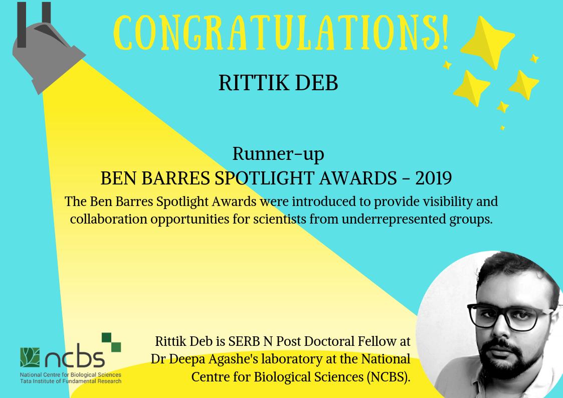 Congratulations! Dr Rittik Deb selected as a runner-up for the Ben Barres Spotlight Award