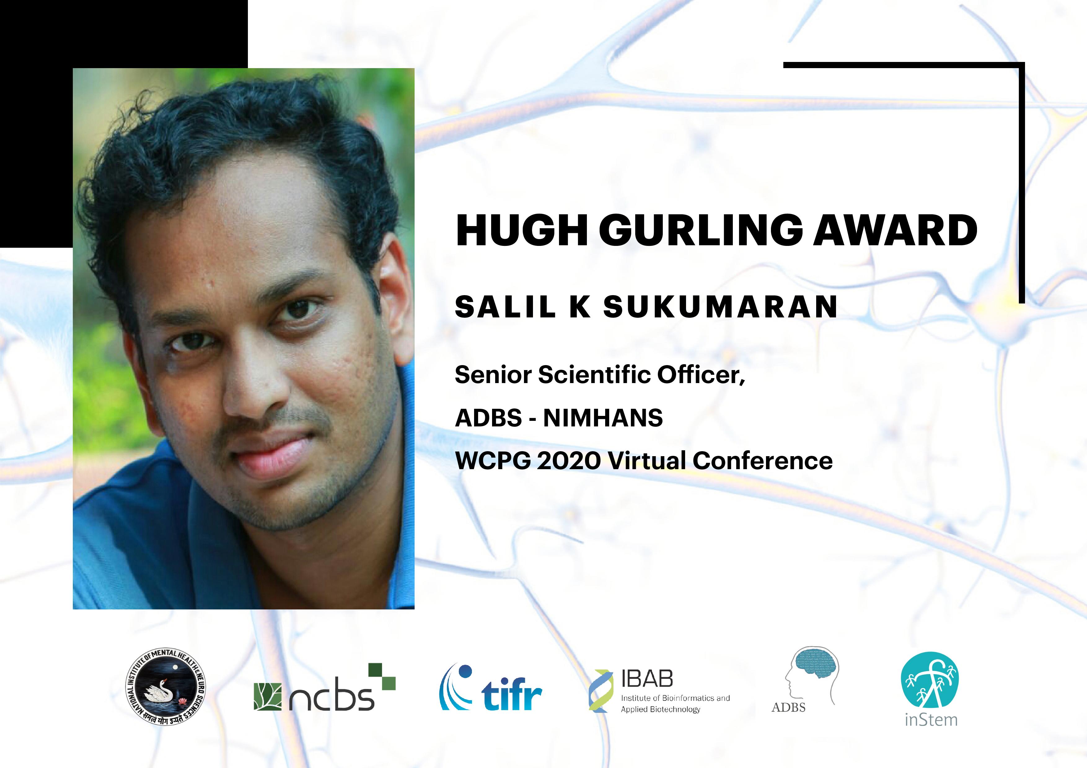 Dr. Salil Sukumaran of ADBS Program Receives the Prestigious Hugh Gurling Award in World Congress of Psychiatric Genetics (WCPG), 2020
